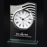 US Flag Glass Clock